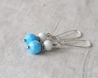 Vintage Bead Earrings, Light Blue Vintage Beads, Milk Glass Beads, Glass Bead Earrings, Silver Plated