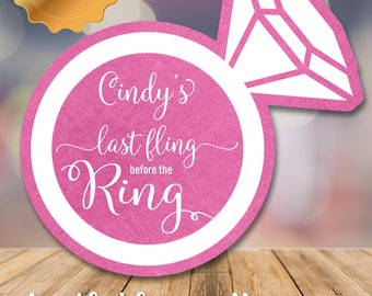 Bachelorette party tags (Set of 12)/ Bachelorette Stickers/ Personalized tags/ Last fling stickers/ Favor tags/ Foil tags