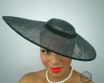 Black Wide Brimmed Hat, Black Vintage Inspired Hat, Velvet Trimmed Hat, Sinamay Hat, Audrey Hepburn Hat, Classic Black Hat, Mourning Hat