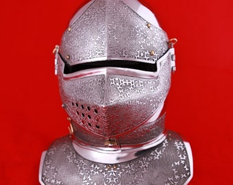 Medieval Mens SCA Helm; Combat Helmet with Etched Patterns; Armor; Steel Helmet