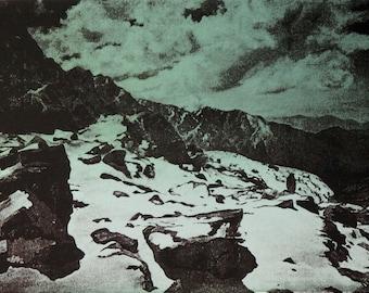 Original, silkscreen, landscape, handmade, Nepal, Annapurna, art