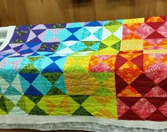 Rainbow handmade quilt