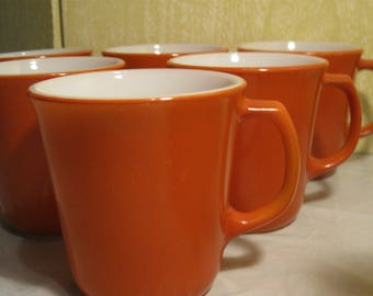 Vintage Pyrex Milk Glass Coffee Cups   Burnt Orange Color   Corning Coffee Mugs      D Handle   USA