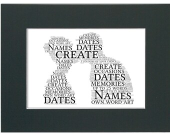 Personalised Love Couple Mounted Word Art - Unframed