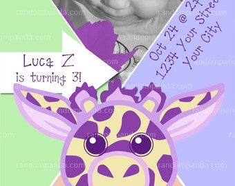 Purple GIRAFFE Party Invitation, Purple Giraffe Baby Shower, Baby Announcement