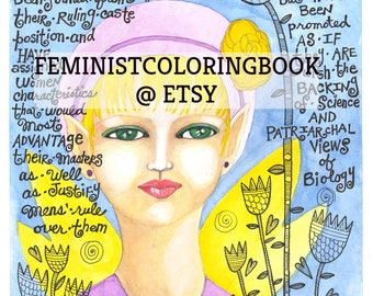 feminist watercolor painting print copy, mens' ideas quote sheila jeffries, whimsical girl, whimsy