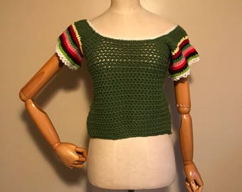Vintage Womans, 70s crop top, Hand Made crop top, Crocheted Top, womans vintage, Size Small