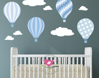 Hot Air Balloon Decal. Baby blue and grey nursery wall stickers.  White clouds. Boys Bedroom Decor. Toddler Gift. Polka dot, Stripes, checks