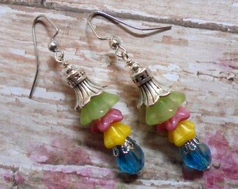 Green, Pink, Yellow and Aqua Flower Earrings (3477)