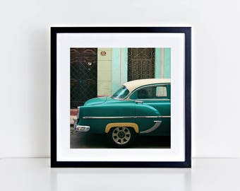"READY TO SHIP - Vintage car photography print - ""Dreaming in green"" - Havana wall art - Cuba photography - Cuba art print - Vintage car"