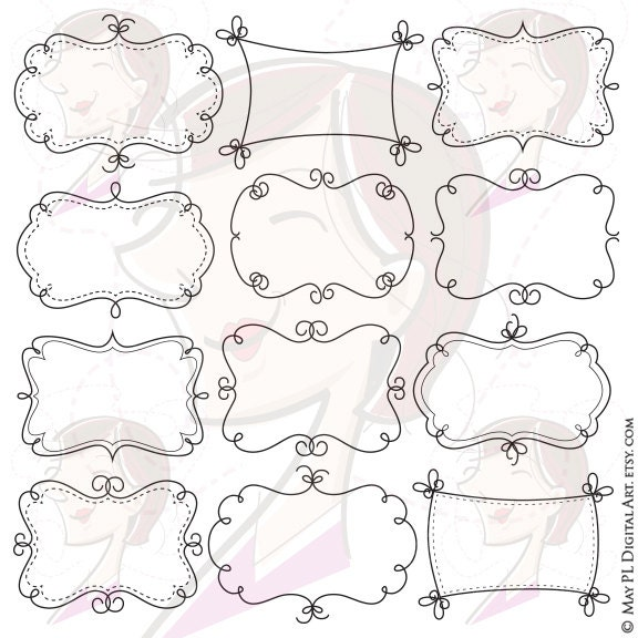 Whimsy Borders Frames Clip Art DIY Labels With Our Cute
