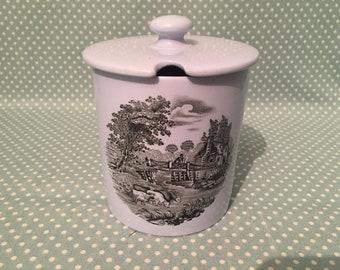 Vintage Spode Copeland China Black transferware country scene preserve/jam/honey dish with lid in blue. - FREE UK POST -