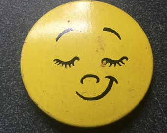 Sweetly Satisfied Yellow Happy Face Pinback Button