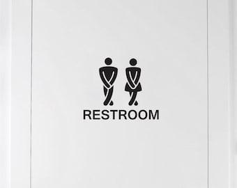 Funny Bathroom Sign - door decal - restroom decal - mens and ladies room bathroom door decal - vinyl lettering for home or office door - new