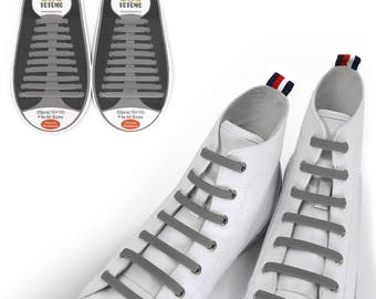 TOTOMO Gray No Tie Elastic Silicone Shoelaces for both Kids & Adults Tieless Shoe Laces