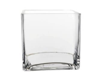 "12-Pack Clear Square Cube Glass Vase 5 Inch 5"" X 5"" X 5"" (FREE SHIPPING)"