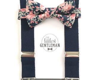 boys floral bow tie and suspenders set , baby boy navy suspenders, suspenders, ring bearer outfit, page boy, braces, boys wedding bow tie