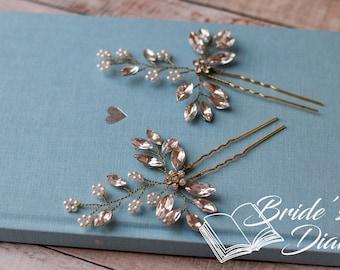 1pcs Bridal hair pins, Pearl Hair pins, gold hair pins with rhinestones and pearls