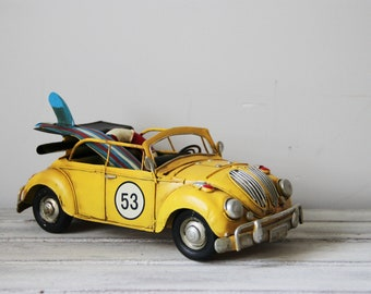 Yellow Beetle convertible with two surfboards  VW bug car convertible, collectible miniature, cabriolet VW yellow beetle, shabby miniature
