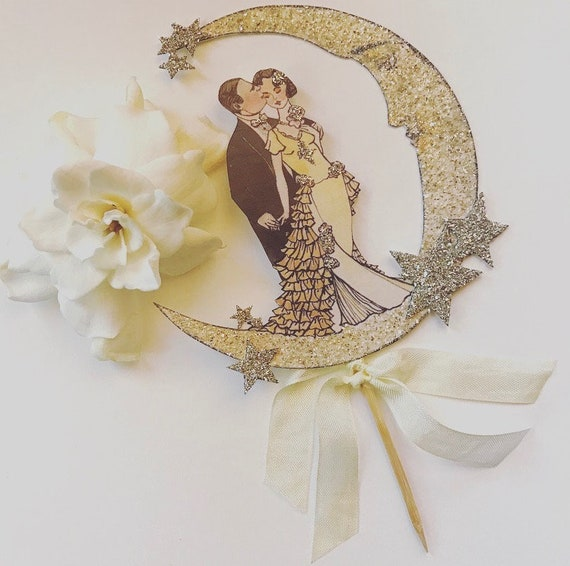 Wedding Cake Topper, Great Gatsby Bride and Groom, Moon,  Sterling Silver Glitter