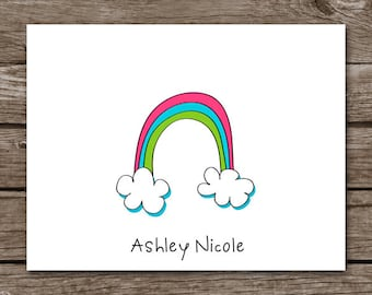 PRINTABLE Rainbow Note Cards, Rainbow Cards, Rainbow Stationery, Rainbow Stationary, Personalized Note Cards