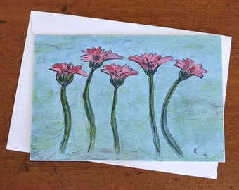 Pink Gerbera Note Card, blank greeting card, Small Floral Art Print from an original painting, art to frame