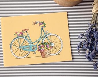 Postcard: Bike with flowers