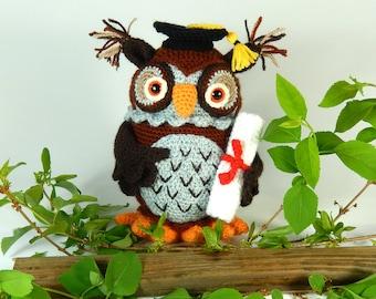 Wesley the Wise Owl, Graduation Owl - Amigurumi Crochet Pattern