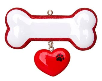 Dog Bone  Ornament  Dog Gift  Dog Bone Personalized Christmas Ornament  Red Dangle Heart Paw Print
