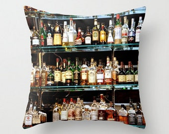 Bar Photo Pillow Cover, Pub Photo Cushion, Bar Drinking Pillow, Classic Bar Architecture Image,Gift for Men,Alcohol Bottles Image,Home Decor