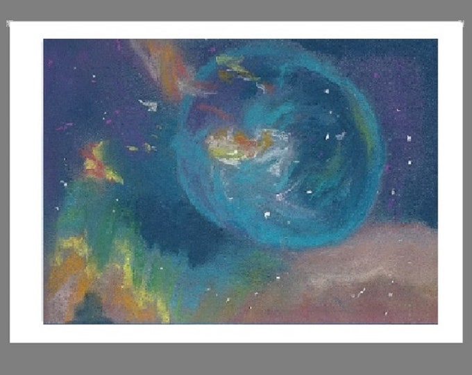 """PRINT of Original Pastel Painting, Outer Space Artwork,  """"Outer Space"""""""
