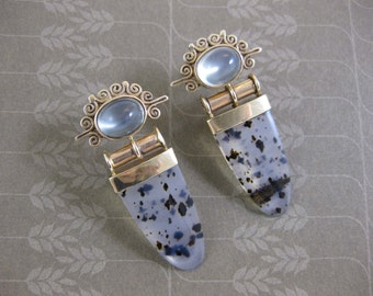 14k Gold Post Earrings with Moss Agate and Moon Stone