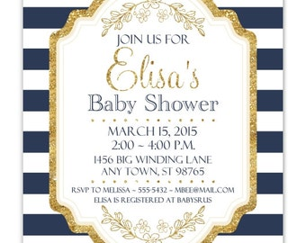 Navy and Gold Baby Shower Invitation, Navy Stripes, Gold Accent Baby Shower Invite, CUSTOM 4x6 or 5x7 size, YOU Print