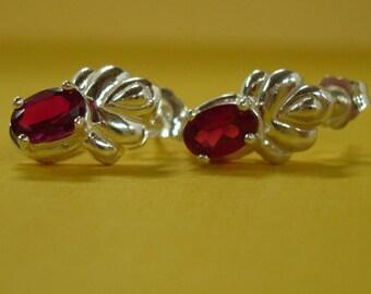 Ruby Earrings - Fancy Ruby Post Earrings - Ruby & Sterling Silver Earrings