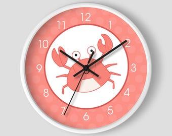 Navy Blue Whale Boys Nautical Nursery Room 10 Inch Wall Clock