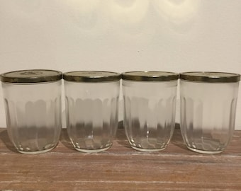 Hazel Atlas Glass Jelly Jars Set of 4 Half Pint Vintage Jam Jars with Lids Candle Making Containers with Lids 1930's Canning Jars