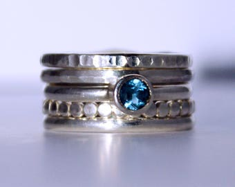 Blue Topaz Stackable Rings.