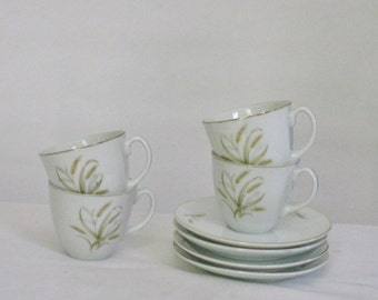Set of 4 Vintage Espresso Cattail Teacups, White Porcelain Modern Demitasse Cups and Saucers Made in Japan