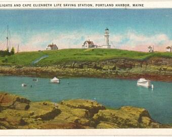 Linen Postcard, Portland, Maine, Cape Elizabeth Life Saving Station, Two Lighthouses