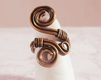 Copper Wire Ring, Wire Wrap Adjustable Ring
