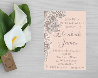 Lace Print Bridal Shower Invitation-Formal Bridal Shower Invitation-Neutral Print Bridal Shower Invitation-Fancy Bridal Shower Invitation