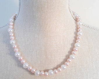 Pale pink pearl necklace, Cheap wedding jewelry, Valentine day, for girlfriend, birthday gift, bride, for daughter, sister, for her