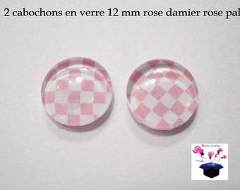 2 glass cabochons 12 mm for loop or ring pink checkerboard theme