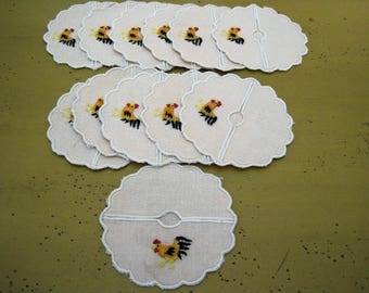 12 Vintage Linen Stem Glass Coasters