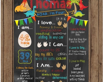 Printable Dinosaur Birthday Chalkboard, Dinosaur Milestone Poster, Birthday Chalkboard, Dinosaur Party, Hear Me Roar I'm Four Poster