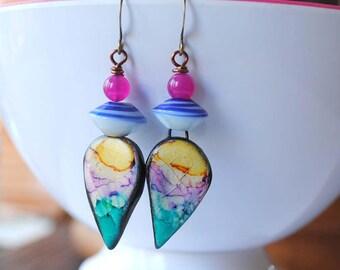 Colorful Teardrop Earrings, Ceramic Bead Earrings, Boho Chic Earrings, Lampwork Glass Bead Earrings, Abstract Earrings,