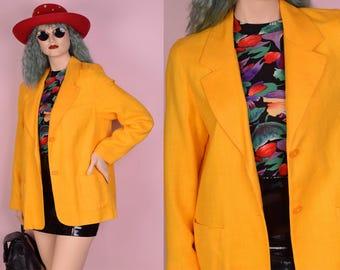 90s Yellow Blazer/ Large/ 1990s/ Jacket