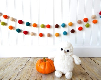 Autumn Garland, Fall Garland, Felt Ball Garland, Fall Decoration, Thanksgiving Garland, Halloween Decor, Bunting, Party Decor, Autumn Decor