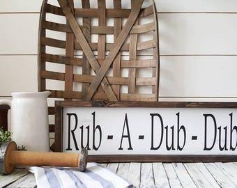 Rub-A -Dub Dub. Farmhouse style- Rustic Bathroom Framed sign. Bathroom-.Farmhouse decor. Rustic decor. woodsigns.