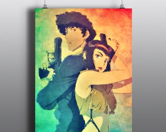 Cowboy Bebop - Spike Spiegel and Faye Valentine Art Print, Watercolor Poster, Anime Print, No110